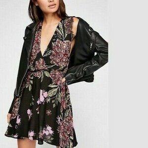 FREE PEOPLE Marnie Black Floral V Neck Slip Dress